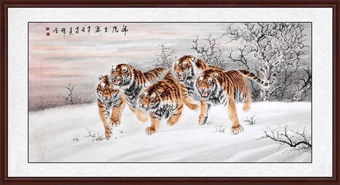 中国虎王新秀工笔画名家八尺横幅工笔动物画精品佳作 虎虎生威 美林印象