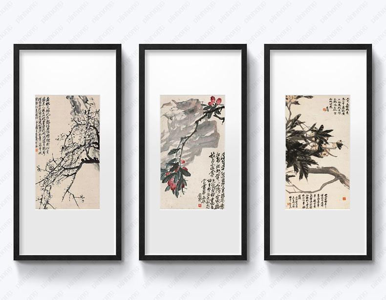 新中式书画元素现代客厅装饰画沙发背景墙画玄关卧室