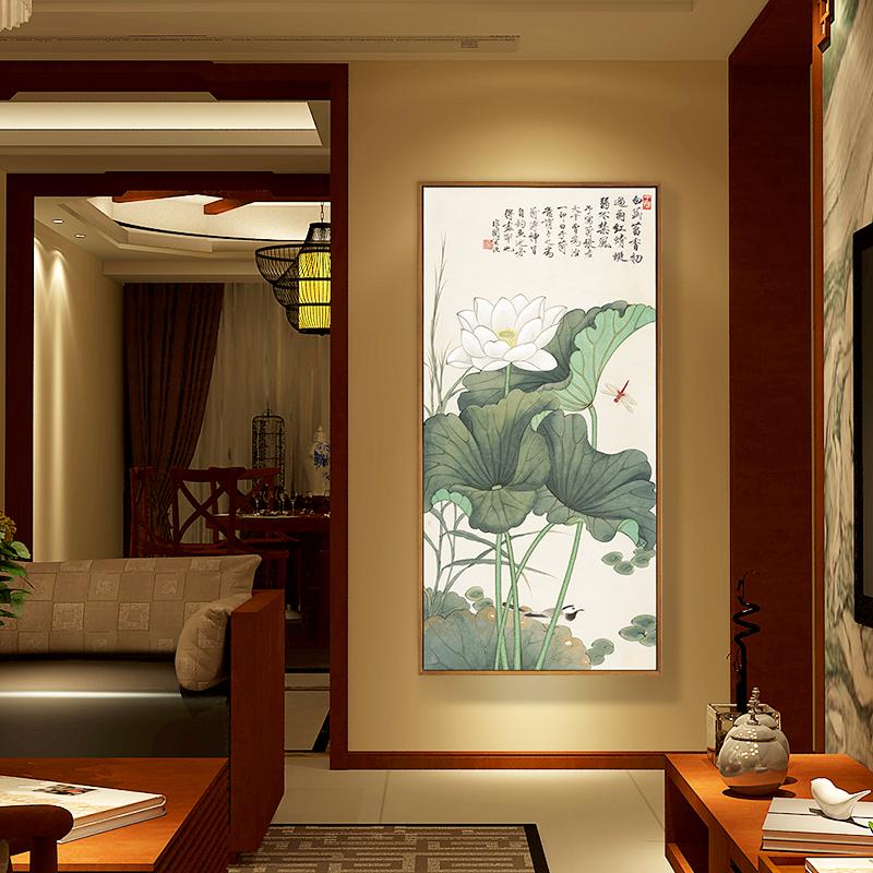 装饰画高仿沙发背景墙玄关客厅餐厅挂画竖版国画壁画